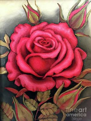 Painting - For You, The Red Rose by Inese Poga