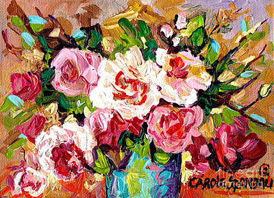 Painting - Foral Arrangement In Blue Vase Red And White Roses Original Painting By Carole Spandau               by Carole Spandau