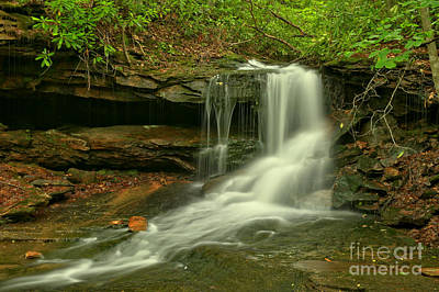 Photograph - Forbes State Forest Cole Run Cave Falls by Adam Jewell