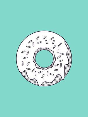 Forbidden Doughnut - Lineart Mint Art Print