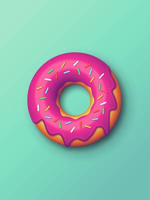 Doughnut Digital Art - Forbidden Doughnut - Mint by Ivan Krpan