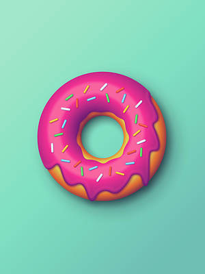 Illustration Digital Art - Forbidden Doughnut - Mint by Ivan Krpan
