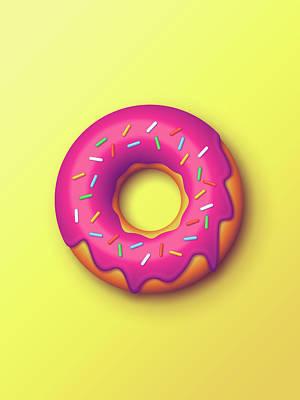 Illustration Digital Art - Forbidden Doughnut - Yellow by Ivan Krpan