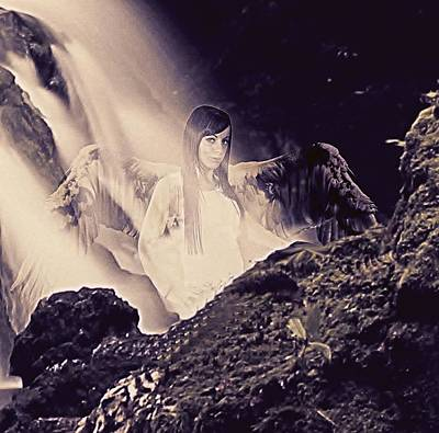 Rock Angels Mixed Media - Sacred Waterfall by Frances Lewis