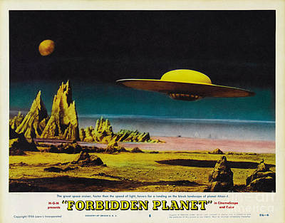 Forbidden Planet In Cinemascope Retro Classic Movie Poster Detailing Flying Saucer Art Print by R Muirhead Art