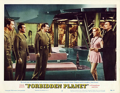 Forbidden Planet In Cinemascope Retro Classic Movie Poster Indoors Art Print by R Muirhead Art