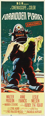 Painting - Forbidden Planet In Cinemascope Retro Classic Movie Poster Portraite by R Muirhead Art