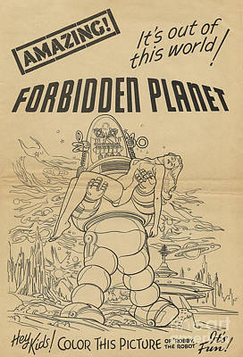Painting - Forbidden Planet In Color This Picture Retro Classic Movie Poster Portraite by R Muirhead Art