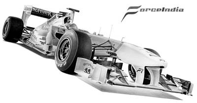 Formula One Drawing - Force India 2011 by Lyle Brown