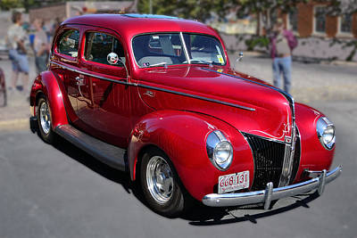 Ford 40 In Red Art Print by Larry Bishop