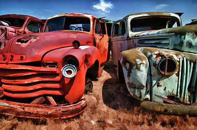 Ford And Chevy Standoff Art Print