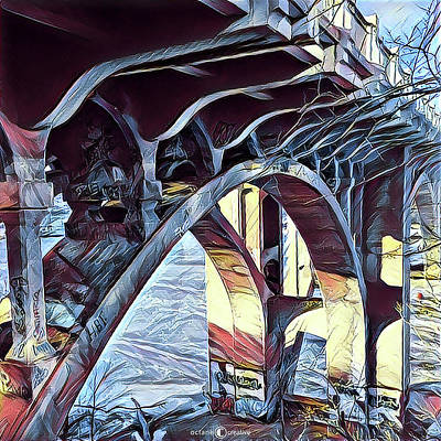 Digital Art - Ford Bridge Winter 1 by Tim Nyberg