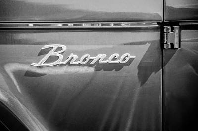 Photograph - Ford Bronco Side Emblem -0827bw by Jill Reger