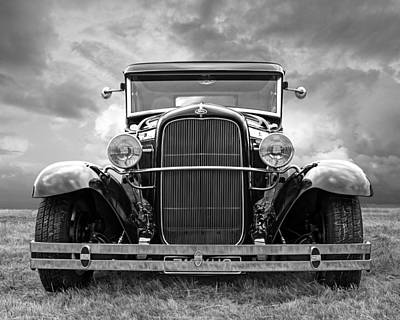 Old Hotrod Photograph - Ford Coupe Head On In Black And White by Gill Billington