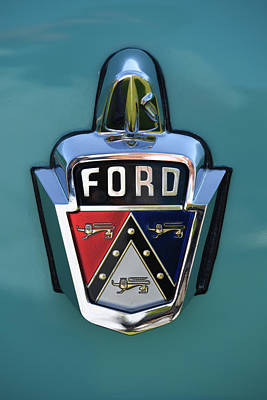 Photograph - Ford Customline Badge by Mike Martin