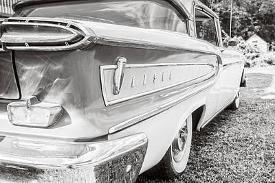 Photograph - Ford Edsel Black And White by Edward Fielding