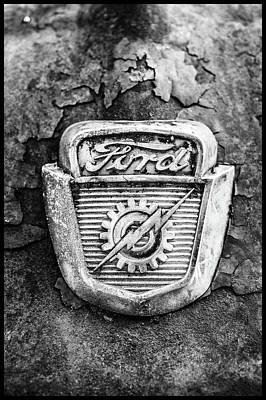 Photograph - Ford Emblem On A Rusted Hood Verticle by Matthew Pace