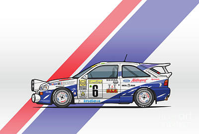 Deutschland Mixed Media - Ford Escort Mk5 Rs Cosworth Group A Rally Monte Carlo 1994 by Monkey Crisis On Mars