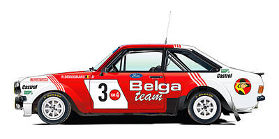 Ford Escort Rs Belga Team Illustration Original by Alain Jamar