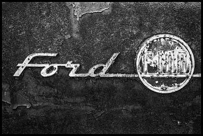 Photograph - Ford F-100 Emblem On A Rusted Hood by Matthew Pace
