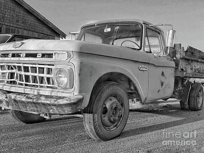 Automotive Art Series Wall Art - Photograph - Ford F-150 Dump Truck Bw by Tony Baca