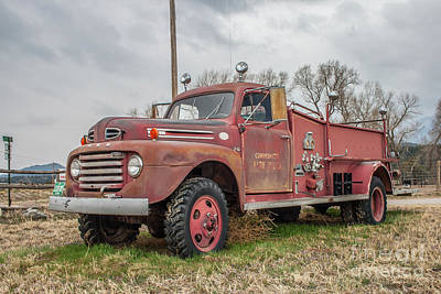 Photograph - Ford F5 Fire Truck by Tony Baca