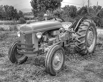 Photograph - Ford Farm Tractor Black And White by Ken Smith