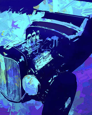 Digital Art - Ford Flathead Roadster Blue Pop by David King