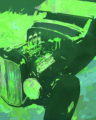 Digital Art - Ford Flathead Roadster Green Pop by David King