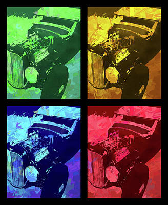 Digital Art - Ford Flathead Roadster Quad by David King