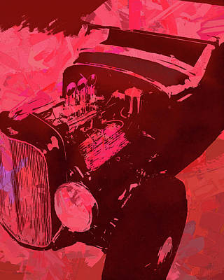 Digital Art - Ford Flathead Roadster Red Pop by David King