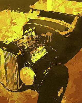 Digital Art - Ford Flathead Roadster Yellow Pop by David King