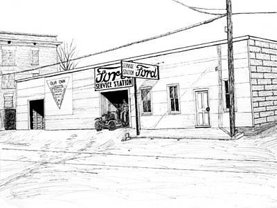 Arkansas Drawing - Ford Garage, Bentonville Arkansas, 1916 by Ron Enderland