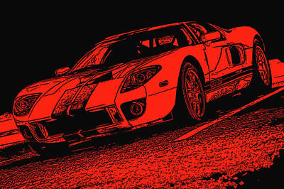 Painting - Ford Gt - Black And Red by Andrea Mazzocchetti
