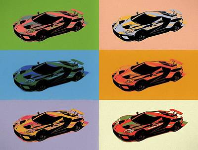 Mixed Media - Ford Gt Pop Art by Dan Sproul
