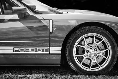 Photograph - Ford Gt Side Emblem - Wheel -ck2352bw by Jill Reger