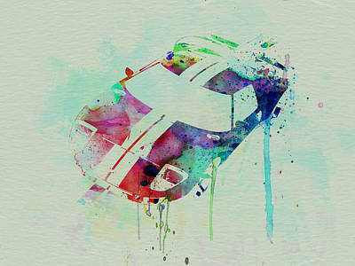 American Cars Drawing - Ford Gt Top Watercolor  by Naxart Studio