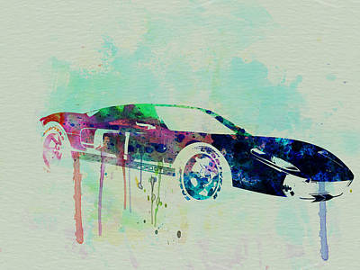 Old Cars Painting - Ford Gt Watercolor 2 by Naxart Studio