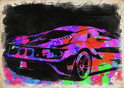 Photograph - Ford Gt Watercolor II by Ricky Barnard
