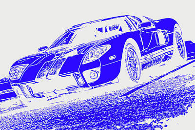 Painting - Ford Gt - White And Blue by Andrea Mazzocchetti