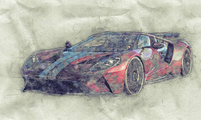 Mixed Media - Ford Gt40 - Sports Car 1 - Racing Car - 1966s - Automotive Art - Car Posters by Studio Grafiikka