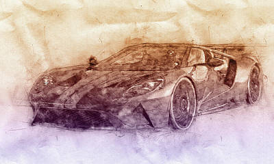 Transportation Royalty-Free and Rights-Managed Images - Ford GT40 - Sports Car 2 - Racing Car - 1966s - Automotive Art - Car Posters by Studio Grafiikka
