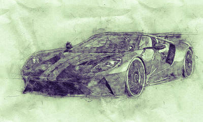 Mixed Media Royalty Free Images - Ford GT40 - Sports Car 3 - Racing Car - 1966s - Automotive Art - Car Posters Royalty-Free Image by Studio Grafiikka