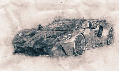 Mixed Media Royalty Free Images - Ford GT40 - Sports Car - Racing Car - 1966s - Automotive Art - Car Posters Royalty-Free Image by Studio Grafiikka