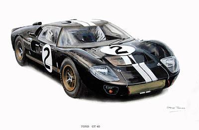 Leman Painting - Ford Gt40 by Steve Jones