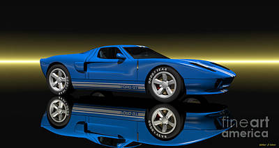 Digital Art - Ford Gt40 by Walter Colvin
