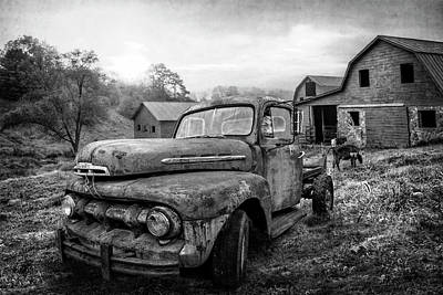 Photograph - Ford In The Farm Pastures In Black And White by Debra and Dave Vanderlaan