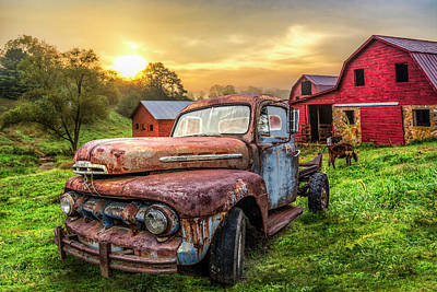 Photograph - Ford In The Farm Pastures In Hdr Detail by Debra and Dave Vanderlaan