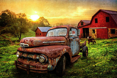 Photograph - Ford In The Farm Pastures Textured by Debra and Dave Vanderlaan