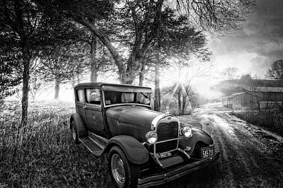 Photograph - Ford In The Fog At The Farm In Black And White by Debra and Dave Vanderlaan